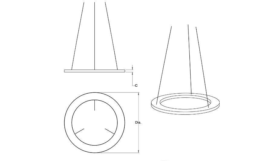 AIR Decorative suspended pendant - Grey line drawing