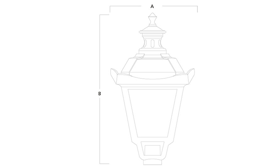 CHURCHILL LED LED Post-top lantern line drawing
