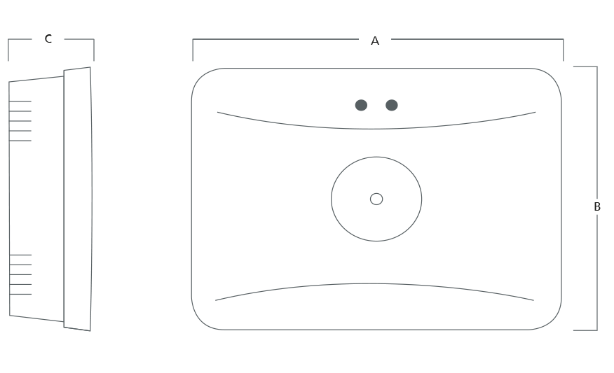 EMLED S Surface mounted emergency downlight line drawing