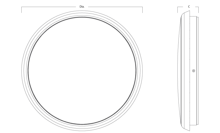 MERIDIAN circular LED bulkhead line drawing