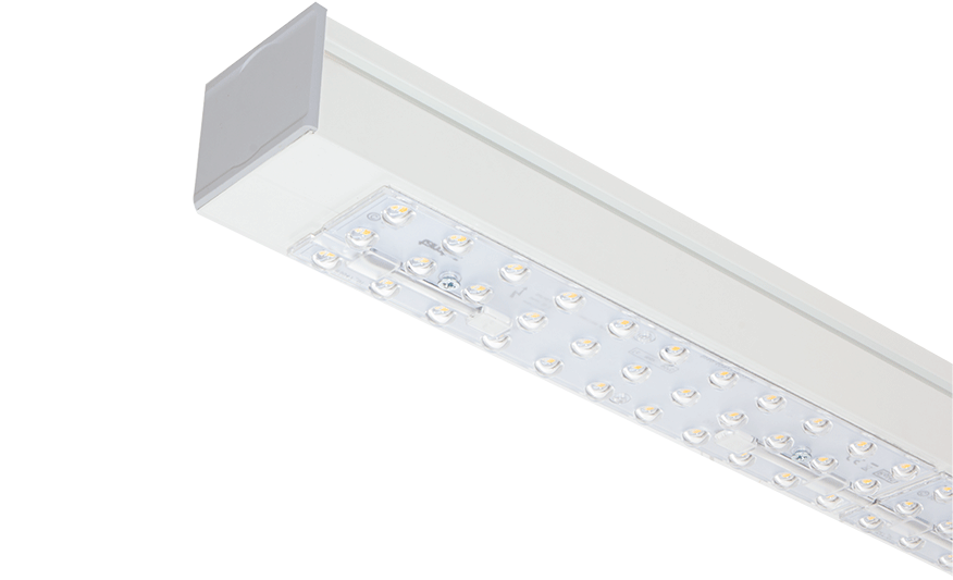 Rackline Linear LED light system with racking aisle optic